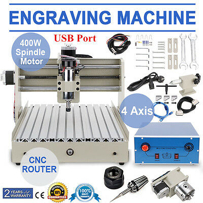 USB 4Axis 3040 CNC Router Engraver ENGRAVING Milling Maschine 3D Cutter 220V