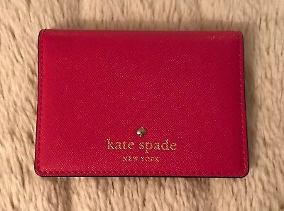 Kate Spade Bi-fold Card Case/Mini Wallet, Bright Pink Leather