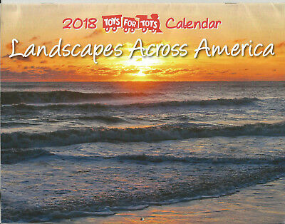 """Toys For Tots 2018 Wall Calendar - """"Landscapes Across America"""" - NEW"""