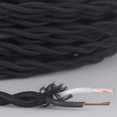 BLACK ~ Antique Look TWISTED Cloth Covered Fabric Lamp Wire ~ Price Per Foot