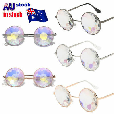 Metal Kaleidoscope Round Crystal Sunglasses Dance Party EDM Mosaic Glasses NW