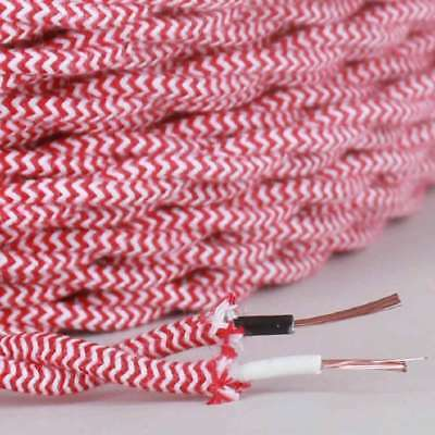 RED & WHITE ~ Antique Look TWISTED Cloth Covered Fabric Lamp Wire ~ Per Foot