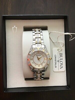 Bulova Two Tone 98L135 Wrist Watch for Women. Crystal watch. Mother of Pearl.