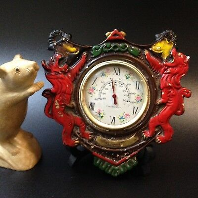 Kitsch Japan 1960s - Heraldic Lions - Ceramic Wall Hanging Thermometer, Working