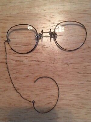 Antique Pince-Nez Tortoise Shell Eyeglasses In Excellant Condition W/Orig. Case