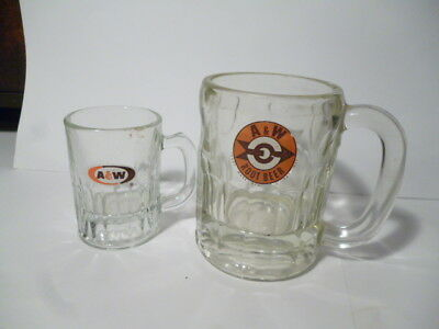2 Vintage Collectable A&W ROOT BEER Glass Mugs Sm Med Root beer Mugs Glass Old
