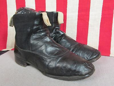 Vintage Antique Hub Gore Black Leather Victorian Ankle Boots early 1900's Sz.8