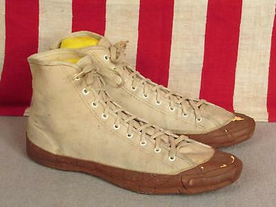 Vintage 1930s Ball Band White Canvas Basketball Sneakers Red Rubber Soles Sz.7