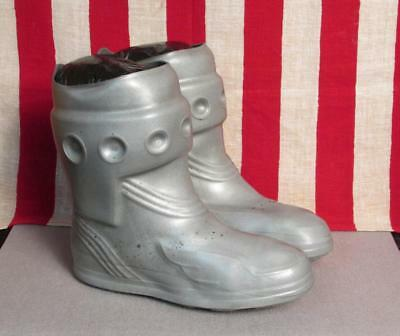 """Vintage 1950s Ball Band Space Age Silver Rain Boots 10.5"""" Length Rubber Sneakers"""