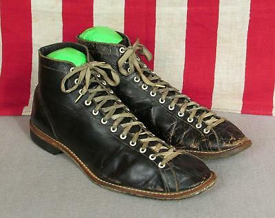 Vintage 1930s Athco Black Leather High-Top Athletic Shoes Sz.8 Bowling Boxing