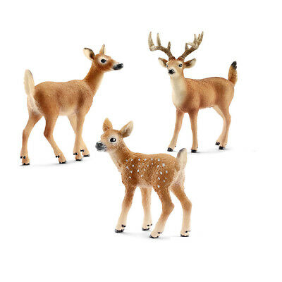 Schleich Deer Family Set - White Tailed Buck Doe and Fawn NEW 14709 14710 14711