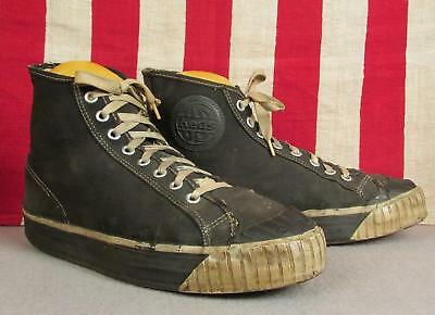 Vintage 1940s US Keds Black Canvas High-Top Basketball Sneakers Athletic Shoes 7