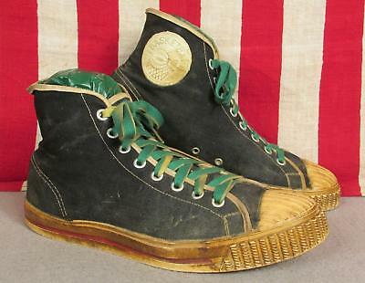 Vintage 1950s Black Canvas Basketball Sneakers High Top Size 8 Athletic Shoes