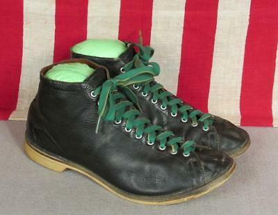 Vintage 1940s Black Leather High-Top Athletic Shoes Boxing Bowling Sz.8 Antique