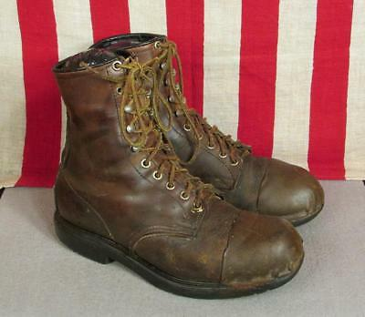 Vintage 1970s Red Wing Leather Work Boots w/ Leather Toe Cap Sz 8.5 Motorcycle