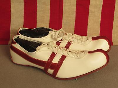 Vintage 1960s Hyde White/Red Leather Track Shoes Spikes Sz.13 NOS w/Box New