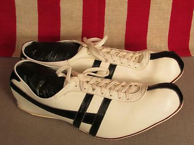 Vintage 1960s Hyde White/Black Leather Track Shoes Spikes Sz.13 NOS w/Box New