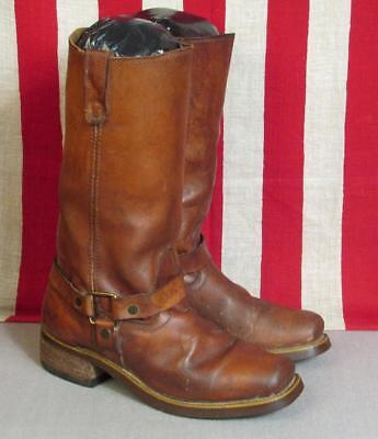 Vintage 1930s Brown Leather Engineer Boots Motorcycle BF Goodrich Soles Size 8.5