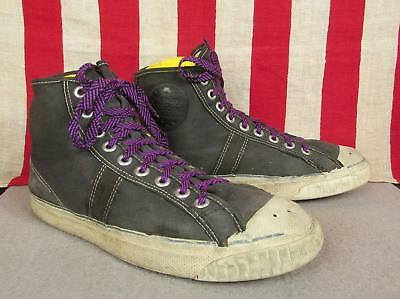 Vintage 1940s Jeepers Canvas Basketball Sneakers Pro Model Athletic Shoes Sz 8.5