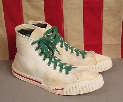 Vintage 1950s Skips Canvas High-Top Basketball Sneakers Shoes Sz.9 Chucks Rare
