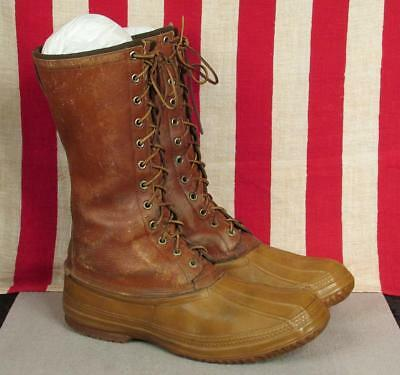 Vintage GH Bass & Co. Brown Leather Duck Boots Tall Sportsmans Hunting Sz.11