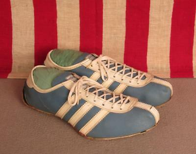 Vintage Adidas Avanti Leather Track Shoes Spikes Sz 7.5 Blue/White France Nice