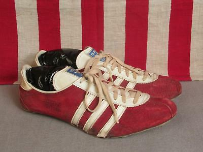 Vintage 1980s Adidas Saturn Red Leather Track Shoes Spikes Sz 10.5 West Germany