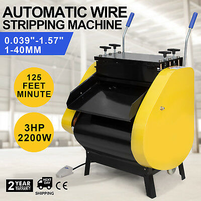 Automatic Wire Stripping Machine with Foot Pedal 1~40 mm² 125ft/Minute Recycling