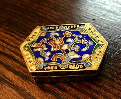 Antique Chinese Cloisonne And Enamel Six Sided Trinket Box