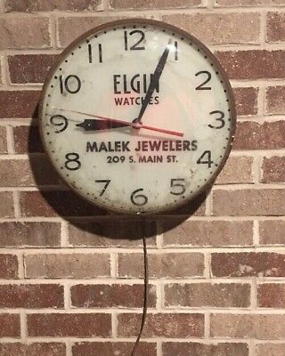 "Vintage Elgin Watches Advertising Pam Clock / 14"" / Malek Jewelers"