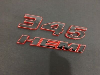 1x OEM Red 345 HEMI Emblem 345Hemi Badge 3D for Dodge Challenger L RAM White
