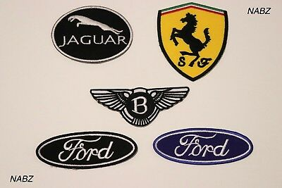 Ferrari Ford Bentley Jaguar Car Brands Logo Embroidery iron sew on Patch Badge
