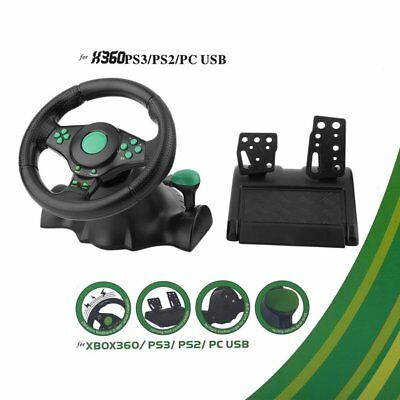 1x XBOX 360 PS3 Steering Wheel And Pedal Set Racing Gaming Simulator Driving PC