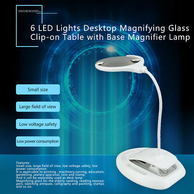 6 LED Lights Desktop Magnifying Glass Clip-on Table with Base Magnifier Lamp BU