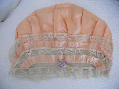 VINTAGE LADIES BOUDOIR NIGHT SLEEP CAP HAT .. lace net flower