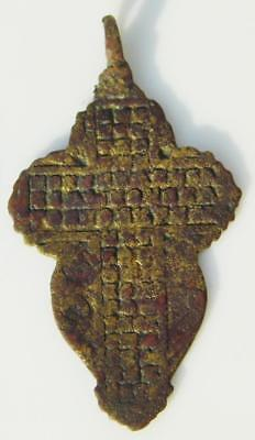 Large Medieval Byzantine Bronze Cross Holy Medal Pendant Old Orthodox Church 56m