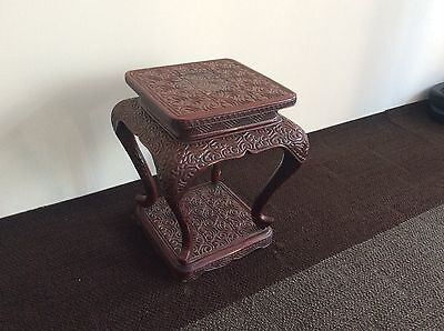 Chinese Old Stool Table Stand / Red Lacquer Tick / Great Work!! china