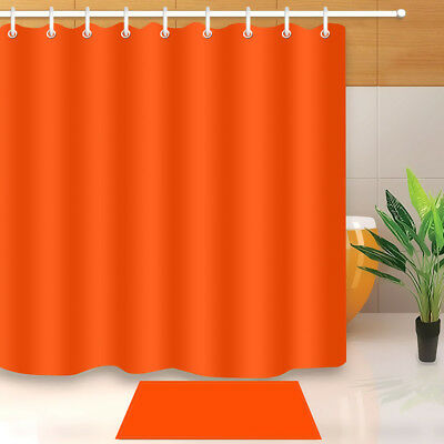 72x72 Vintage Solid Orange Shower Curtain Fabric Waterproof Bathroom 12 Hooks