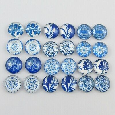 Glass Dome Blue & White Cabochon 12mm Select 10 or 20 pieces in random pairs