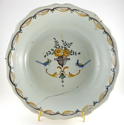 French Nevers Large Bowl Late 18th / early 19th C. Faience Tin Glaze Restoration