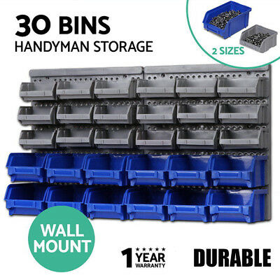 30 Bin Wall Mounted Rack Toolboxes Storage Organiser for Bench Garage Shed Work