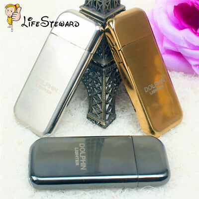 Black Slim Refillable Flint Butane Gas Windproof Jet Flame Cigarette Lighter