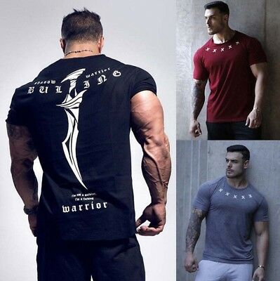 Men's Gym Muscle Bodybuilding Cotton Sport Fit Fitness Casual T-shirt Tee Tops