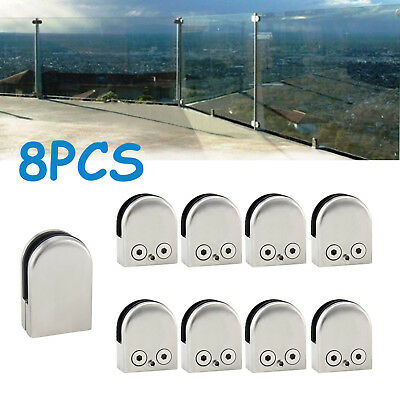 16X 304Stainless Steel Glass Clamp Clip Flat Back Bracket For Handrail  8-10mm