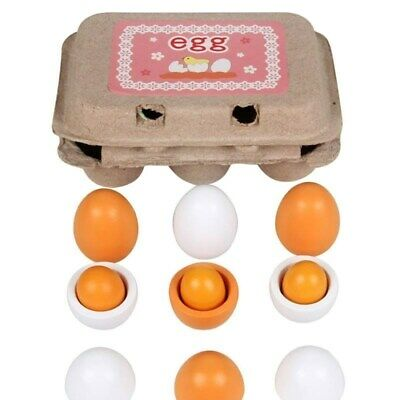 New 6pc a Set Wooden Eggs Yolk Pretend Play Kitchen Food Kid Educational Toy