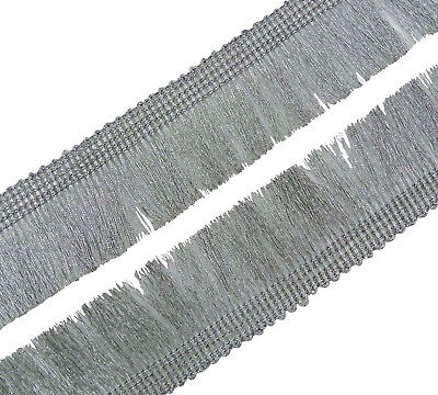 Silver Fringes Trim 7.6cm Indian Ethnic Crafting Border By The Yard