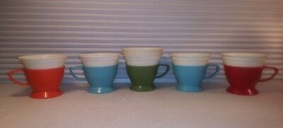 5 Solo Cozy Cups Holders Refills 7 oz. Green Blue Red  Plastic Retro Vintage 70s