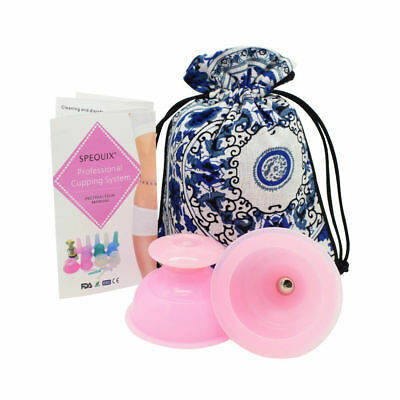 2PCS Vacuum Anti Cellulite Massager Silicone Massage Cupping Set Pink With  Bag