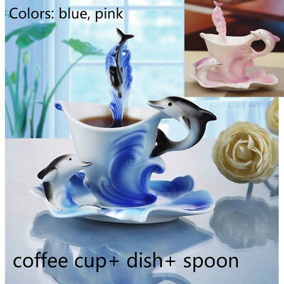 Dolphin Pattern Porcelain Coffee Mug Set with Dish Spoon Home Office Tea Cup