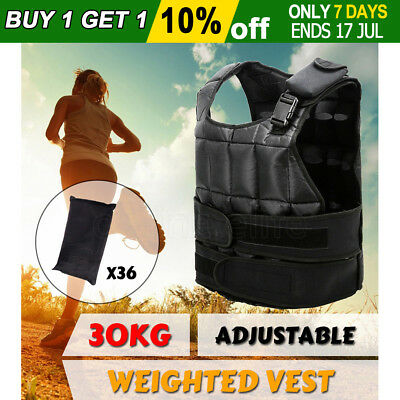 30KG Adjustable Weighted Vest Sport Weight Strength Training Gym Fitness Workout
